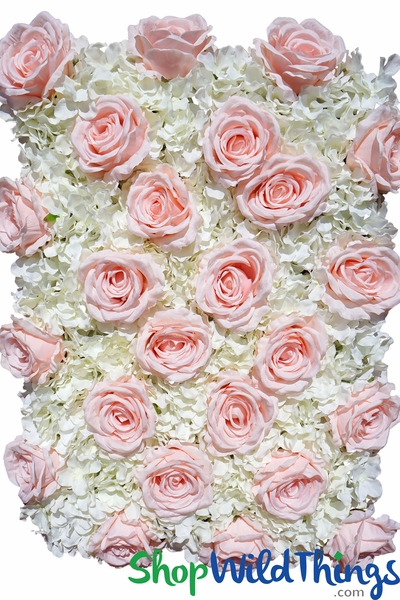 "COMING SOON! Flower Wall 19"" x 25 1/2"" Premium Silk Roses & Hydrangeas - Blush Pink & Ivory"