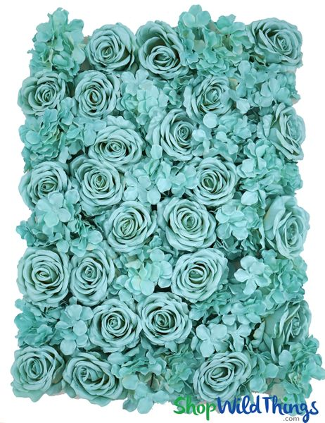 "Coming Soon - Flower Wall, 20"" x 27"" Premium Silk Roses & Hydrangeas - Aqua Blue"