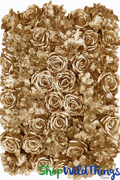 "Flower Wall, 20"" x 27"" Premium Silk Roses & Hydrangeas - Metallic Gold"
