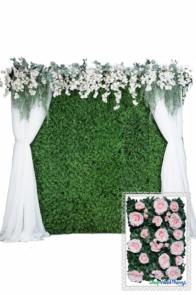 Flower Wall Kit - 8' x 8' Portable Backdrop Kit - Pink Roses on Green Leaves