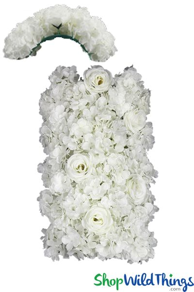 """COMING SOON! Flower Wall Curved Section 9 1/2"""" x 19"""" Premium Silk Roses & Hydrangeas - Cream"""