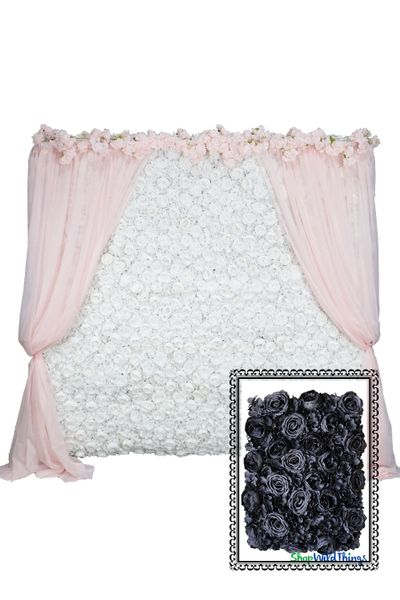 Flower Wall Kit - 8' x 8' Portable Backdrop Kit - Black Roses, Peonies & Hydrangeas