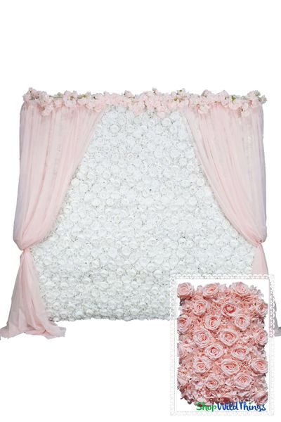 Flower Wall Kit - 8' x 8' Portable Backdrop Kit - Blush Pink Roses & Hydrangeas