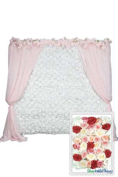 Flower Wall Kit - 8' x 8' Portable Backdrop Kit - Colorful Flower Mix