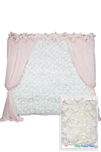 Flower Wall Kit - 8' x 8' Portable Backdrop Kit - Cream Roses, Peonies & Hydrangeas