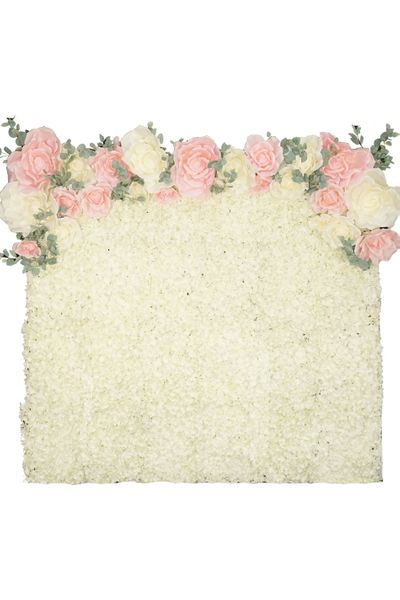 Flower Wall Kit - 8' x 8' Portable Backdrop Kit - Ivory Hydrangeas