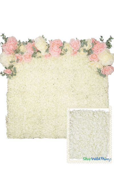 Flower Wall Kit - 8' x 8' Portable Backdrop Kit - Light Cream Hydrangeas
