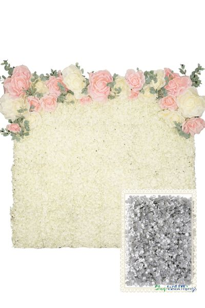 Flower Wall Kit - 8' x 8' Portable Backdrop Kit - Metallic Silver Hydrangeas