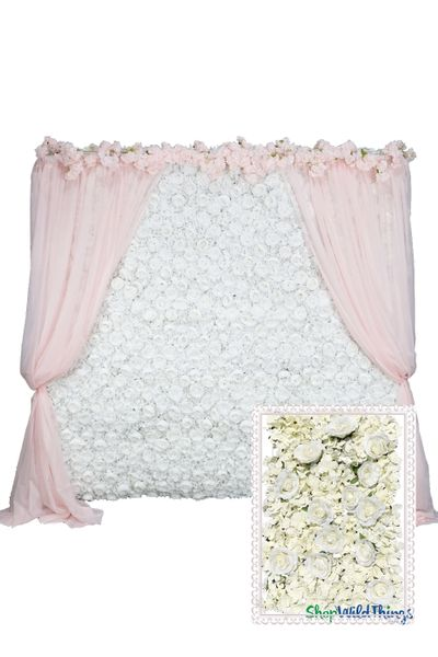 Flower Wall Kit - 8' x 8' Portable Backdrop Kit - Off-White Roses & Hydrangeas