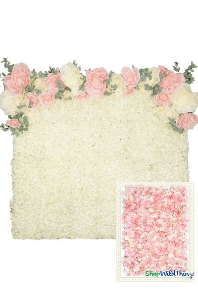 Flower Wall Kit - 8' x 8' Portable Backdrop Kit - Pink & Cream Hydrangeas