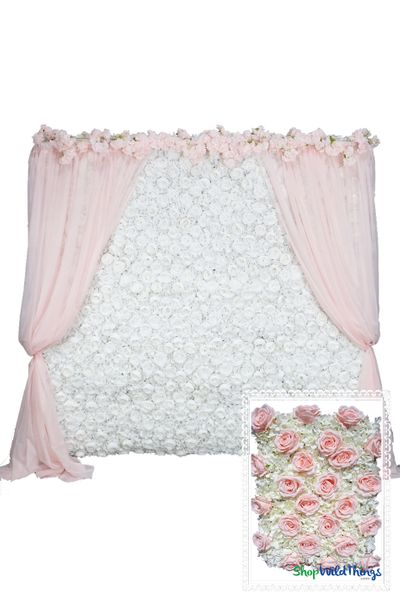 Flower Wall Kit - 8' x 8' Portable Backdrop Kit - Pink Roses & Ivory Hydrangeas