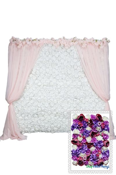 Flower Wall Kit - 8' x 8' Portable Backdrop Kit - Pink, Purple & Ivory Floral Mix