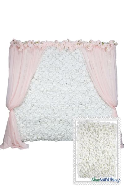Flower Wall Kit - 8' x 8' Portable Backdrop Kit - Pure White Hydrangeas