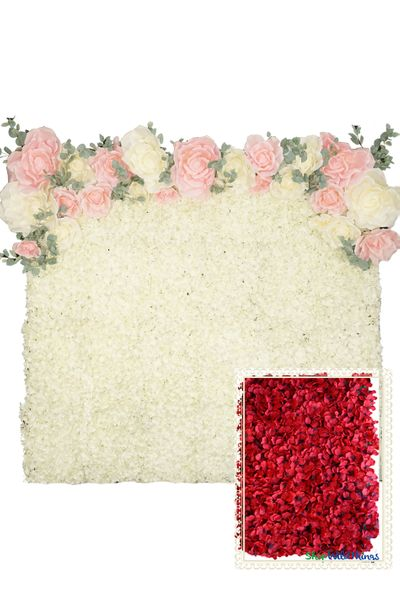 Flower Wall Kit - 8' x 8' Portable Backdrop Kit - Red Hydrangeas