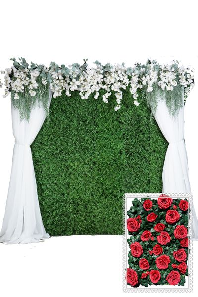 Flower Wall Kit - 8' x 8' Portable Backdrop Kit - Red Roses On Green Leaves