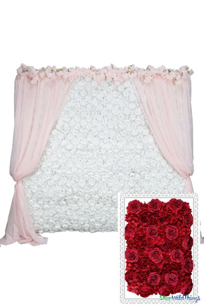 COMING SOON! Flower Wall Kit - 8' x 8' Portable Backdrop Kit - Rich Red Roses, Peonies & Hydrangeas