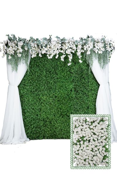 Flower Wall Kit - 8' x 8' Portable Backdrop Kit - Small Cream Roses on Green Leaves