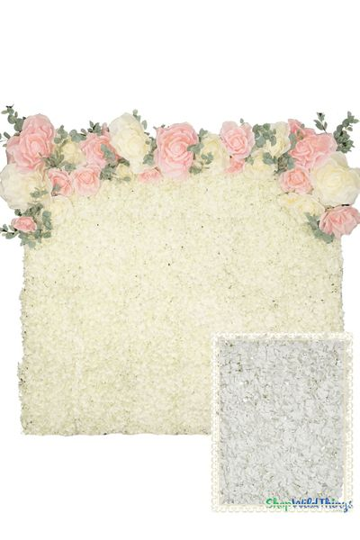 Flower Wall Kit - 8' x 8' Portable Backdrop Kit - White Hydrangeas