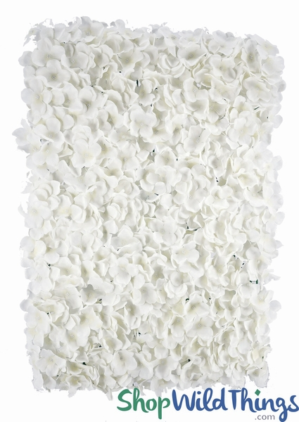 "Flower Wall 18"" x 26"" Premium Silk Hydrangeas - Pure White"