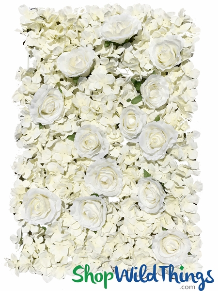 "Flower Wall 16 1/2"" x 24"" Silk Roses & Hydrangeas - Off White"