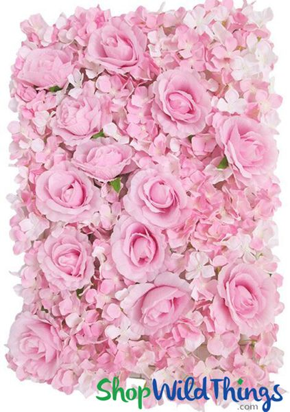"Flower Wall 18 x 25"" Silk Roses & Hydrangeas - Pink"