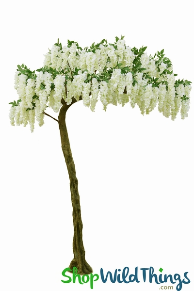 "Flowering Cream & Greenery Tree - 10.5 Feet Tall x 7 Feet Wide ""Sideswept"" - Create Arch Using 2!"