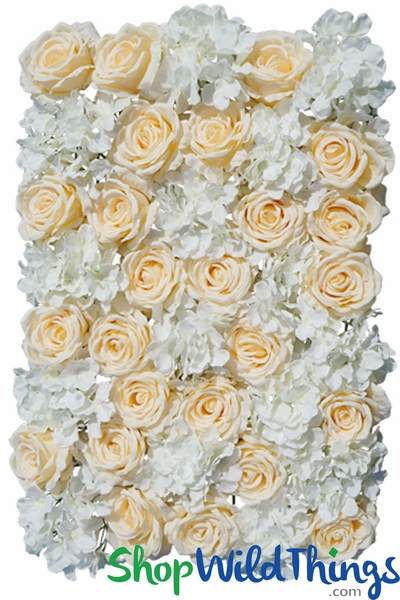 "COMING SOON! Flower Wall 20"" x 27"" Premium Silk Roses & Hydrangeas - Peach & Ivory"