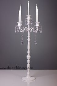 """Frances""  Large White Tabletop Candelier Candelabra- 32""  Tall!"