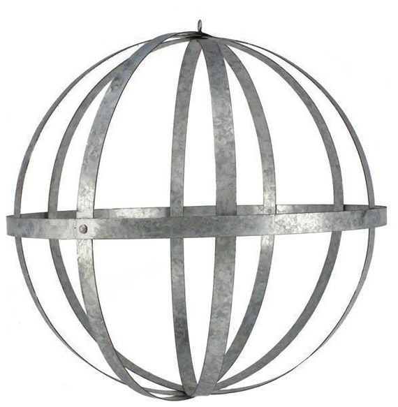 "Galvanized Metal Folding Ball, Silver 24"" - Floral Design Sphere Orb"