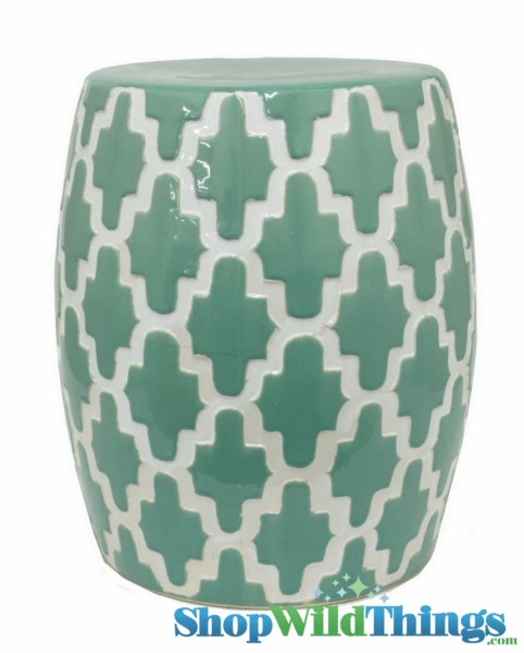 "CLEARANCE! Garden Stool ""Edgemere"" Green & White Geometric Pattern 18"" x 15"""
