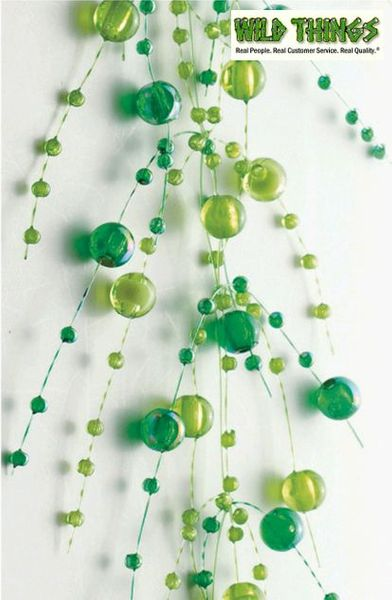Coming Soon! Garland, 5 Feet Long, Green Pearls, Set of 2