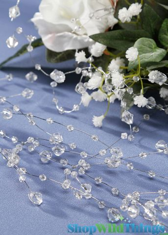 "Garland 5' 6"" Clear Crystal Beads - Silver Wire"
