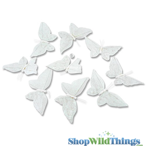 Garland -  Butterflies -  White w/ Irid Glitter - 5.5 Feet Long