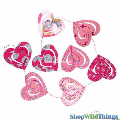 COMING SOON! Garland -  Paper 3D Hearts -  Pink Glitter