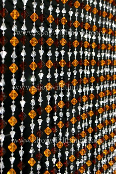 Gemstone Beaded Curtain - Brown Amber Non-Iridescent  with BLING ROD! 35 in x 6 ft