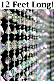 Gemstone Crystal Iridescent Beaded Curtain 3 ft Wide x 12 Feet Long