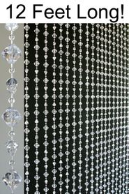 "Gemstone ""Chunky"" Beaded Curtains- Crystal Non-Iridescent - 3 ft x 12 ft"