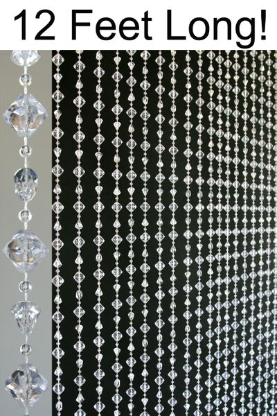 "COMING SOON! Gemstone ""Chunky"" Beaded Curtains- Crystal Non-Iridescent - 3 ft x 12 ft"