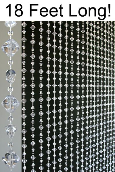 "Coming Soon! Gemstone ""Chunky"" Beaded Curtain - Crystal Non-Iridescent - 3 ft x 18 ft"