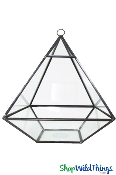 "Geometric Hanging or Tabletop Terrarium & Candle Holder - Black - 8 1/2"" Tall Pyramid"
