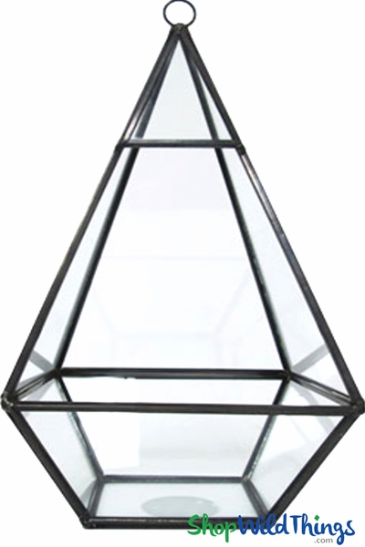 "Geometric Hanging or Tabletop Terrarium & Candle Holder - Black - 9 1/2"" Tall Diamond"