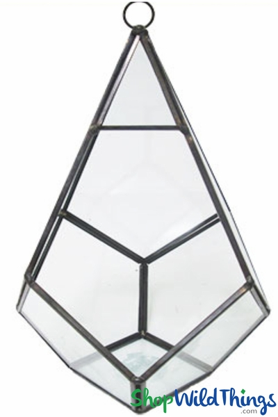 "Geometric Hanging or Tabletop Terrarium & Candle Holder - Black - 9"" Tall Polygon"