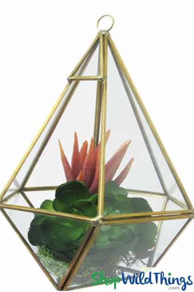 "Geometric Hanging or Tabletop Terrarium & Candle Holder - Gold - 8 3/4"" Tall Hexagon"
