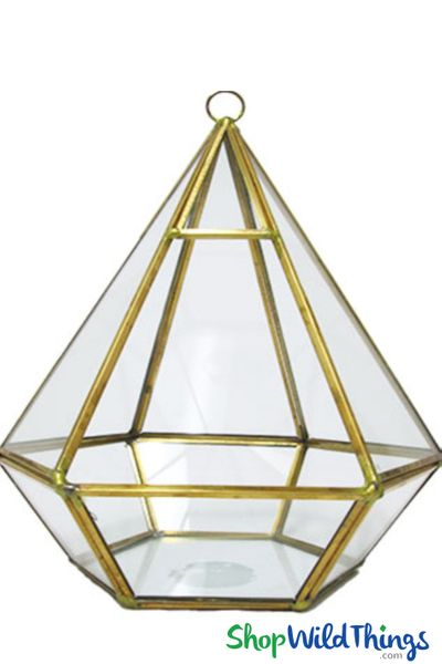 "Geometric Hanging or Tabletop Terrarium & Candle Holder - Gold - 8"" Tall Hexagon"