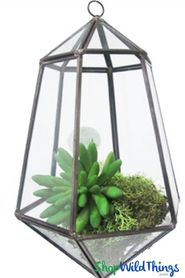 "Geometric Hanging Terrarium & Candle Holder - Black - 10 "" Tall Diamond"