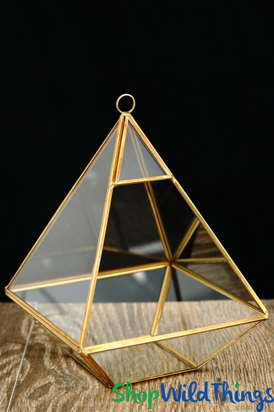 "Geometric Hanging or Tabletop Terrarium & Candle Holder - Gold - 8 1/2"" Tall Pyramid"