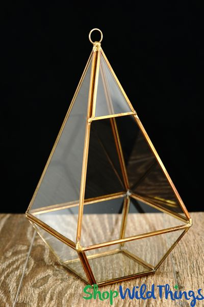 "Geometric Hanging or Tabletop Terrarium & Candle Holder- Gold - 9 1/2"" Tall Diamond"