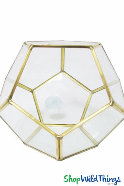 "COMING SOON! Geometric Tabletop Terrarium & Candle Holder - Gold 5 1/2"" Tall Pentagon"