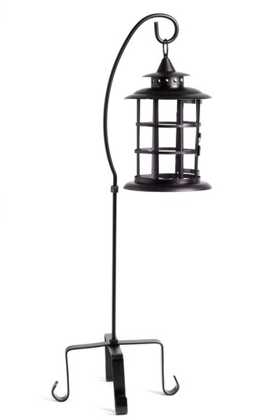 CLEARANCE! Glass Candle Lantern with Hanger - Matte Black