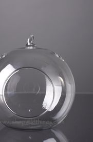 Glass Round Hanging (or Standing) Candle Holder or Terrarium- 4.75""